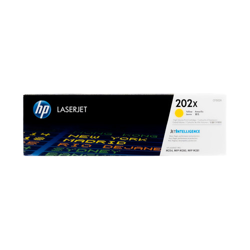 Original HP 202X CF502X Yellow High-Yield Toner Cartridge