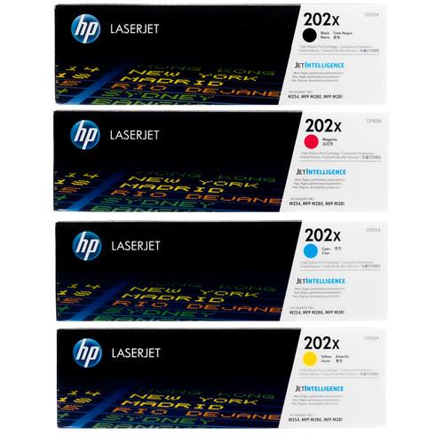Original HP 202X Set CF500X CF501X CF502X CF503X Black Cyan Magenta Yellow Toner Cartridges