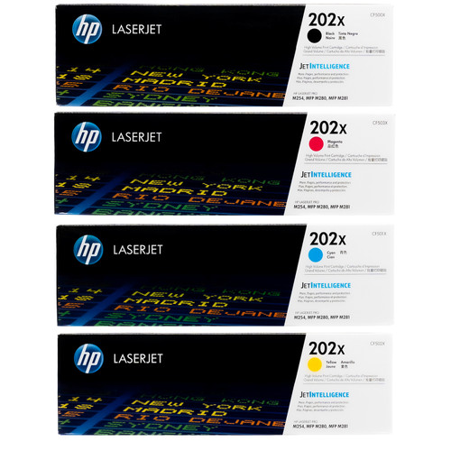 Original HP 202X Set CF500X CF501X CF502X CF503X Black Cyan Magenta Yellow Toner Cartridges