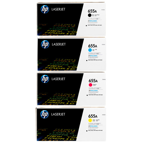 HP 655A SET | CF450A CF451A CF452A CF453A | Original HP Toner Cartridges - Black, Cyan, Yellow, Magenta