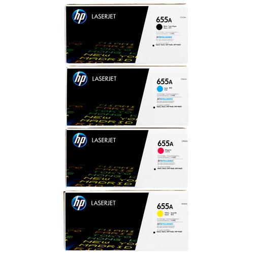 HP 655A SET | CF450A CF451A CF452A CF453A | Original HP Toner Cartridges - Black, Cyan, Yellow, Magenta