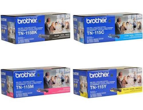 Original Brother TN-115 High-Yield Toner Cartridge 4 Color Combo Set Black Cyan Yellow Magenta TN-115BK TN-115C TN-115Y TN-115M