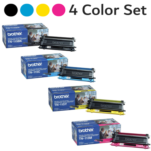 Original Brother TN-115 High-Yield Toner Cartridge 4 Color Combo Set Black Cyan Yellow Magenta TN-115BK TN-115C TN-115Y TN-115M