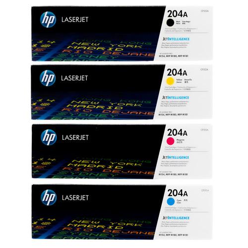 Original HP 204A Set CF510A, CF511A, CF512A, CF513A Black Cyan Magenta Yellow Toner Cartridges