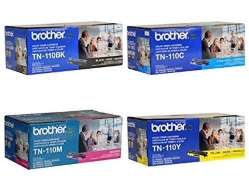 Original Brother TN-110 Toner Cartridge Set TN-110BK, TN-110C, TN-110M, TN-110Y Black, Cyan, Magenta and Yellow