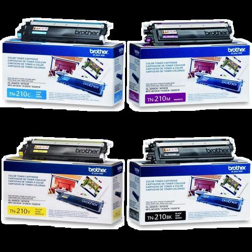 Original Brother TN-210 Toner Cartridge Set TN-210BK, TN-210C, TN-210M, TN-210Y, Black, Cyan, Magenta and Yellow