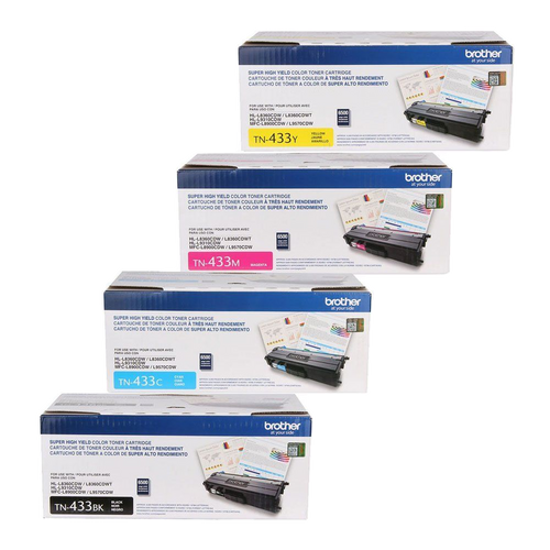 Original Brother TN-433 Toner Cartridge Set TN-433BK, TN-433C, TN-433M, TN-433Y, Black, Cyan, Magenta and Yellow