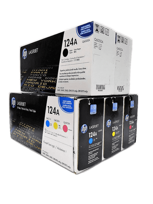 Original HP 124A Set Q6000AD Q6001A Q6002A Q6003A Black Cyan Magenta Yellow Toner Cartridges