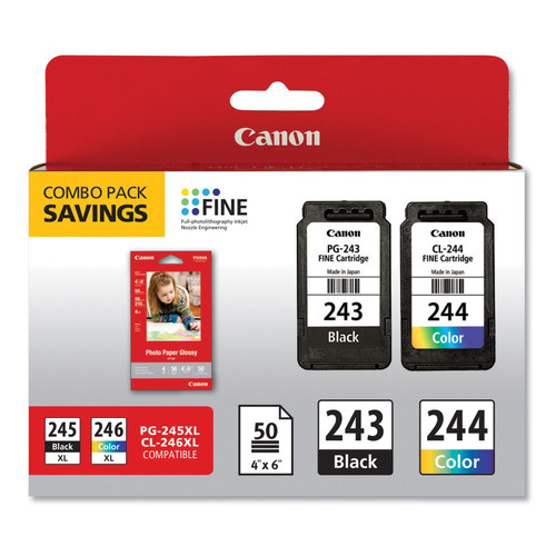 Original Canon 1287C005 (CL-244; PG-243BK) Ink Combo Pack, 50 Sheets of 4 x 6 Photo Paper Glossy, Black/Color