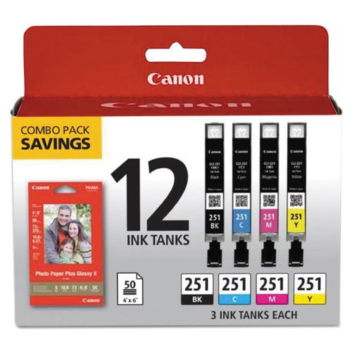 6513B010 | Canon CLI-251 | Original Canon Ink & Paper Combo Pack - Black, Cyan, Magenta, Yellow