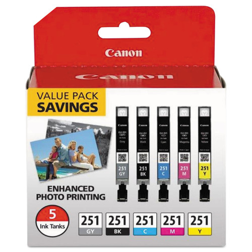 6513B011 | Original Canon 5 Ink Cartridge Combo Pack - Black, Cyan, Gray, Magenta, Yellow