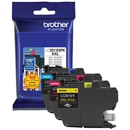 Original Brother LC30193PK Genuine Super High Yield Ink Cartridge, Set of 3: 1 Each of Cyan, Magenta, Yellow