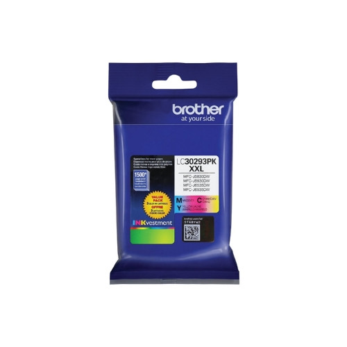 Original Brother LC30293PK Genuine LC3029PK Super High Yield INKvestment 3 Pack Color Ink Cartridges