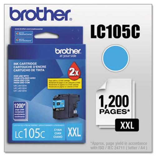 Original Brother LC105C Genuine OEM (LC-105C) EXTRA High Yield Cyan Inkjet Cartridge (1.2K YLD)