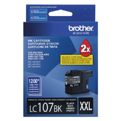Original Brother LC107BK Genuine OEM (LC-107BK) EXTRA High Yield Black Inkjet Cartridge (1.2K YLD)