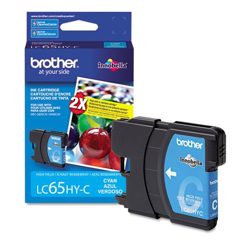 Original Brother LC65HYC Genuine OEM (LC-65HYC) High Yield Cyan Inkjet Cartridge (750 YLD)