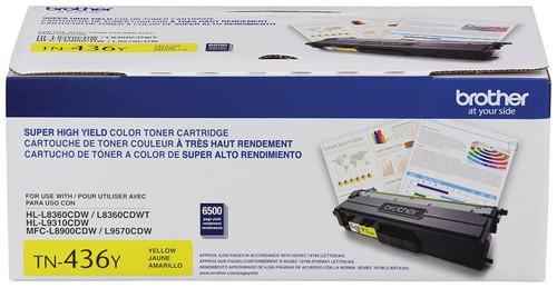 Original Brother TN436Y Genuine OEM Super High Yield Yellow Toner (6.5K YLD)