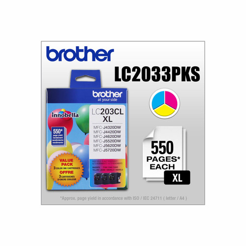 Original Brother LC2033PKS LC-2033PKS 550pages Cyan Magenta Yellow ink cartridge