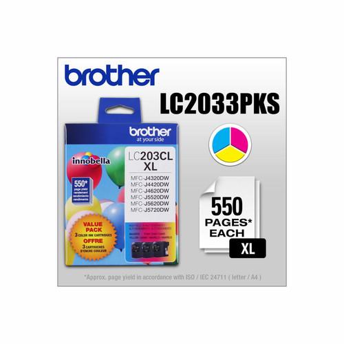 Original Brother LC2033PKS LC-2033PKS 550pages Cyan Magenta Yellow ink cartridge