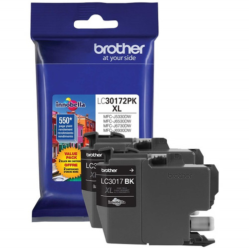 Original Brother LC30172PK LC3017 High Yield Black Ink Cartridge Dual Pack (2 x 550 Yield)