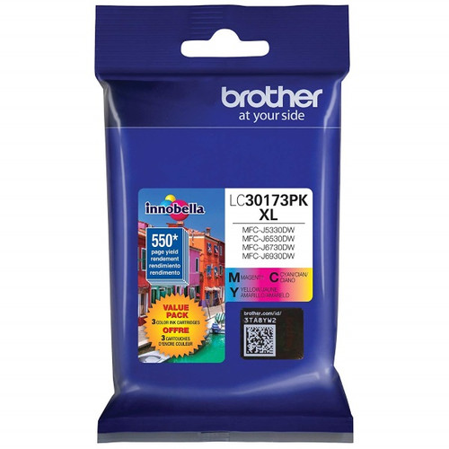 Original Brother LC30173PK LC3017 High Yield C,M,Y Ink Cartridge Combo Pack (3 x 550 Yield)