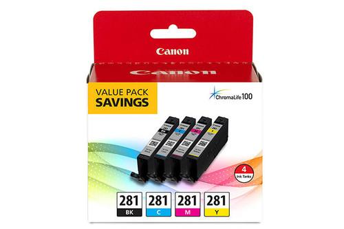 2091C005 | Canon CLI-281 | Original Canon Ink Cartridge Combo Pack - Black, Cyan, Magenta, Yellow