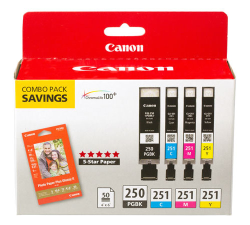 6497B004 | Canon PGI-250 | Original Canon Ink & Paper Combo Pack - Black, Cyan, Magenta, Yellow