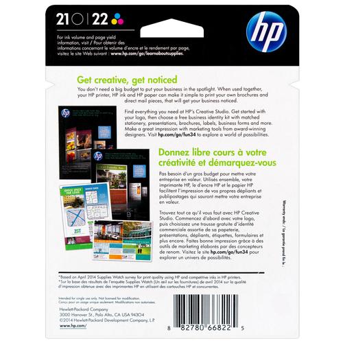 HP 21 22 SET   C9509FN   Original Ink Cartridges Standard Yield - CMYK