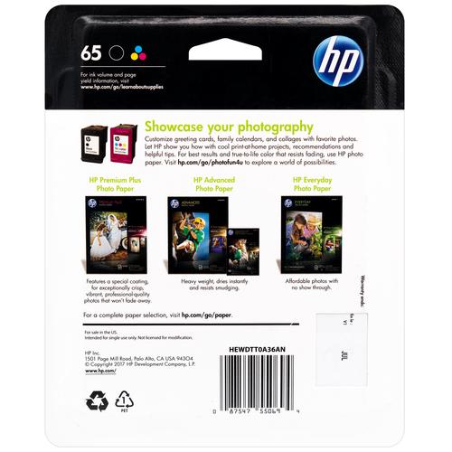 T0A36AN   HP 65   Original HP Ink Cartridge Combo Pack - CMYK