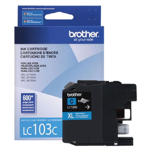 Original Brother LC103C OEM ink for MFCJ4410, MFCJ4610DW.
