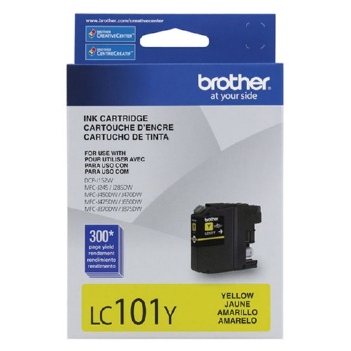 Original Brother LC101Y OEM ink for Brother® DCP-J152w, MFC-J870dw, MFC-J875dw, MFC-650dw, MFC-J475dw, MFC-J470dw, MFC-J450dw, MFC-J285dw, MFC-J245.