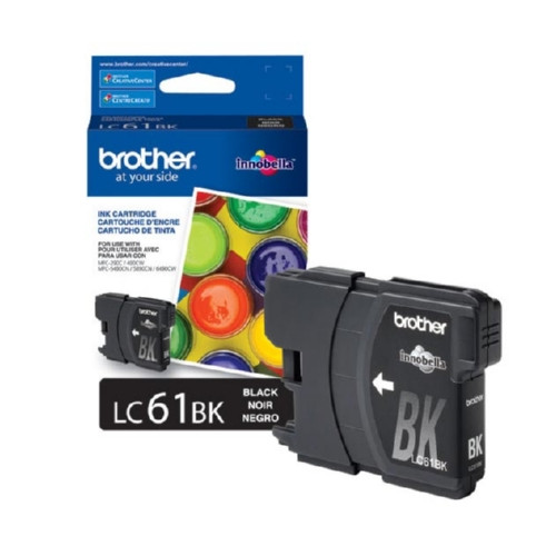 Original Brother LC61BK OEM ink for Brother® DCP165c, 375w, 385c, 395cn, 585cw, J125c, 258c, 255cw, MFC-290c, 295cn, 490cw, 495cw, 790cw, 795cw, 5490cn, 5895cw, 6490cw, 6890cdw, J220, J265w, J270w, J410w, J415w, J615w, J630w.
