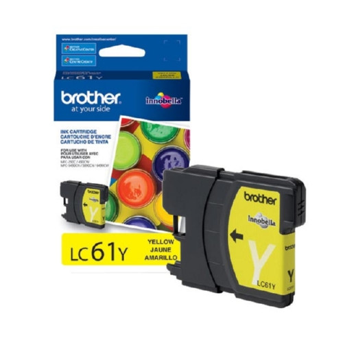 Original Brother LC61Y OEM ink for Brother® DCP165c, 375w, 385c, 395cn, 585cw, J125c, 258c, 255cw, MFC-290c, 295cn, 490cw, 495cw, 790cw, 795cw, 5490cn, 5895cw, 6490cw, 6890cdw, J220, J265w, J270w, J410w, J415w, J615w, J630w.