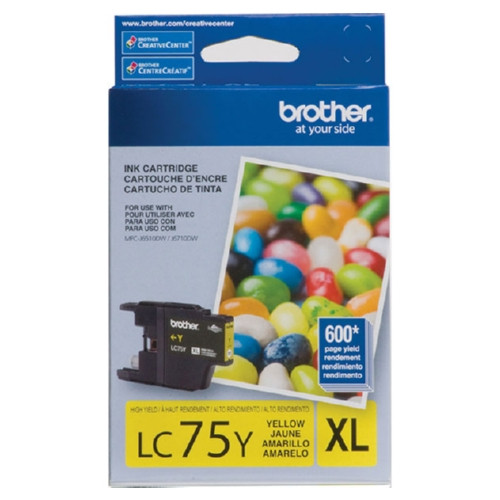 Original Brother LC75Y OEM ink for Brother® MFC-J6510dw, J6710dw, J6910dw.