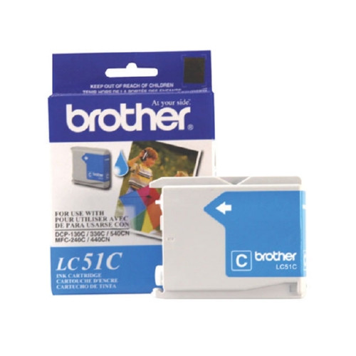 Original Brother LC51C OEM inkjet cartridge for Brother® Fax 1360, 1860C, 1960C, 2480C, MFC-240C, 440CN, 665CW, 845CW, 3360C, 5460CN produces 400 pages at 5% coverage.