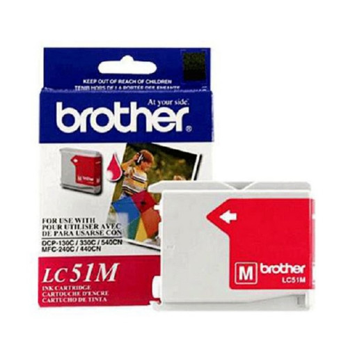 Original Brother LC51M OEM inkjet cartridge for Brother® Fax 1360, 1860C, 1960C, 2480C, MFC-240C, 440CN, 665CW, 845CW, 3360C, 5460CN produces 400 pages at 5% coverage.