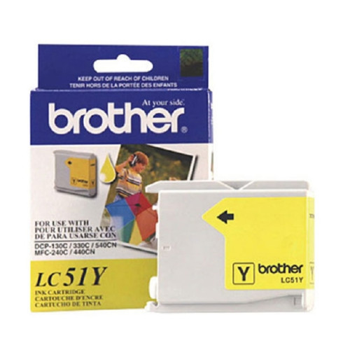 Original Brother LC51Y OEM inkjet cartridge for Brother® Fax 1360, 1860C, 1960C, 2480C, MFC-240C, 440CN, 665CW, 845CW, 3360C, 5460CN produces 400 pages at 5% coverage.