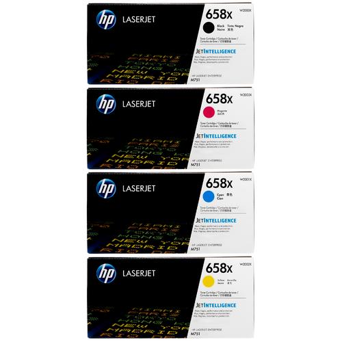 Original HP 658X SET | W2000X W2001X W2002X W2003X | LaserJet High-Yield Toner Cartridges - Black, Cyan, Magenta, Yellow