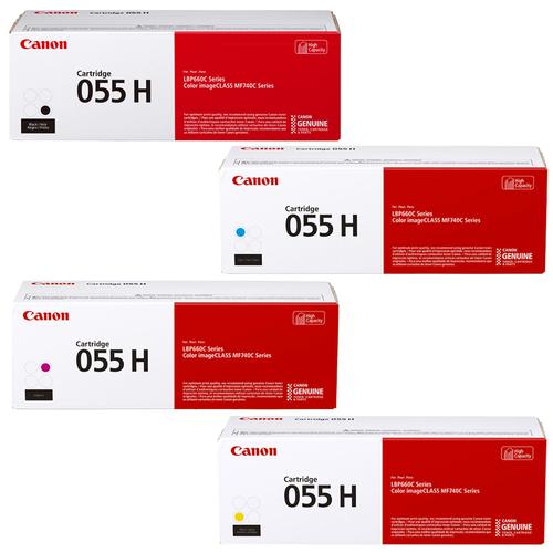 Canon 055H Set | Original Canon High-Yield Laser Toner Cartridges – Black, Cyan, Magenta, Yellow