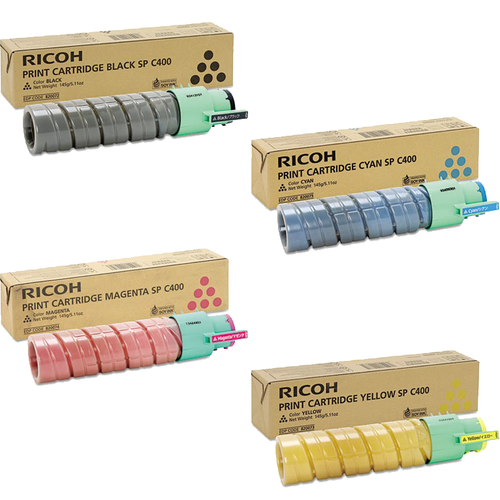 Ricoh SP-C400 Set | 820072 820073 820074 820075 | Original Ricoh Laser Toner Cartridges – Black, Cyan, Magenta, Yellow