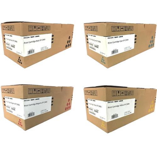 Ricoh SP-C340A Set   407895 407896 407897 407898   Original Ricoh Laser Toner Cartridges – Black, Cyan, Magenta, Yellow