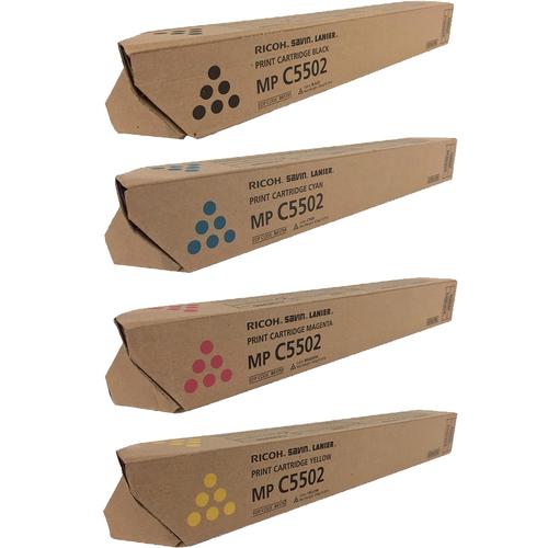Ricoh MP-C5502 Set | 841751 841752 841753 841754 | Original Ricoh Laser Toner Cartridges – Black, Cyan, Magenta, Yellow