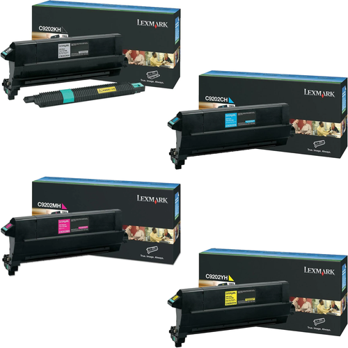 Lexmark C9202 Set   C9202CH C9202KH C9202MH C9202YH   Original Lexmark Toner Cartridges – Black, Cyan, Magenta, Yellow