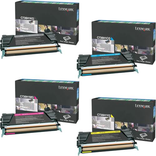 Lexmark C736H1 Set   C736H1CG C736H1KG C736H1MG C736H1YG   Original Lexmark High-Yield Toner Cartridges – Black, Cyan, Magenta, Yellow