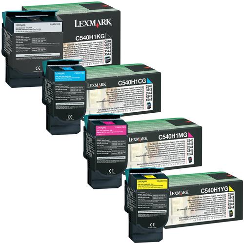 Lexmark C540H1 Set   C540H1CG C540H1KG C540H1MG C540H1YG   Original Lexmark High-Yield Toner Cartridges – Black, Cyan, Magenta, Yellow
