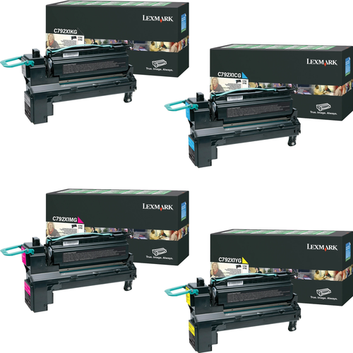 Lexmark C792X1 Set | C792X1CG C792X1KG C792X1MG C792X1YG | Original Lexmark Extra High-Yield Toner Cartridges – Black, Cyan, Magenta, Yellow