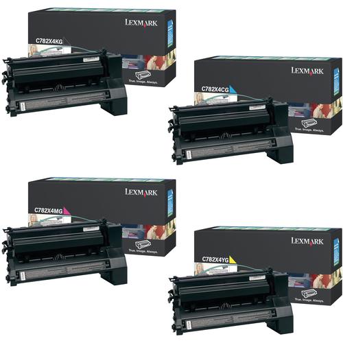 Lexmark C782X4 Set | C782X4CG C782X4KG C782X4MG C782X4YG | Original Lexmark Extra High-Yield Toner Cartridges – Black, Cyan, Magenta, Yellow