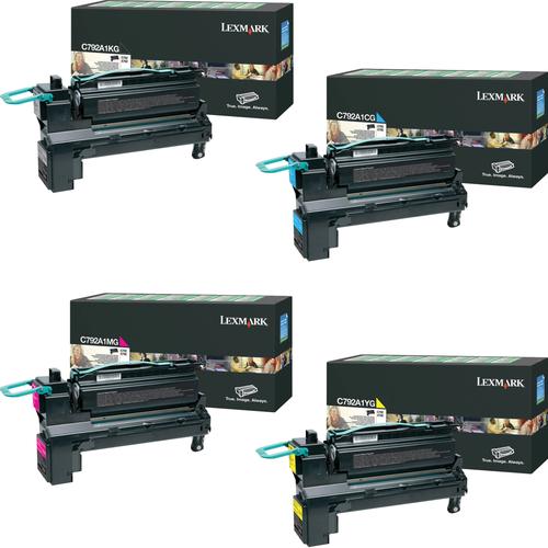 Lexmark C792A1 Set   C792A1CG C792A1KG C792A1MG C792A1YG   Original Lexmark Toner Cartridges – Black, Cyan, Magenta, Yellow
