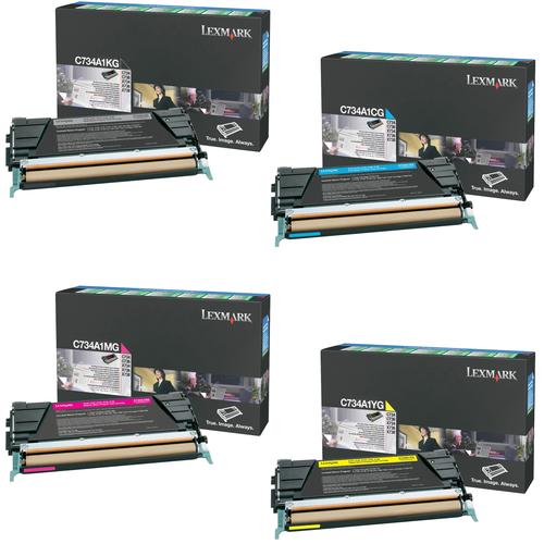 Lexmark C734A1 Set   C734A1CG C734A1KG C734A1MG C734A1YG   Original Lexmark Toner Cartridges – Black, Cyan, Magenta, Yellow