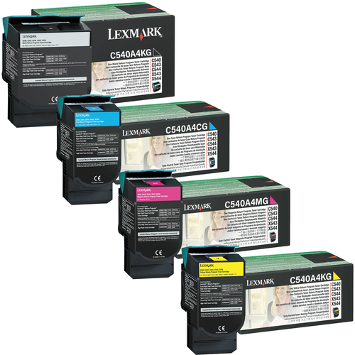 Lexmark C540A4 Set | C540A4CG C540A4KG C540A4MG C540A4YG | Original Lexmark Toner Cartridges – Black, Cyan, Magenta, Yellow